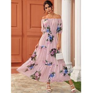 Off Shoulder Pink Floral Maxi Dress
